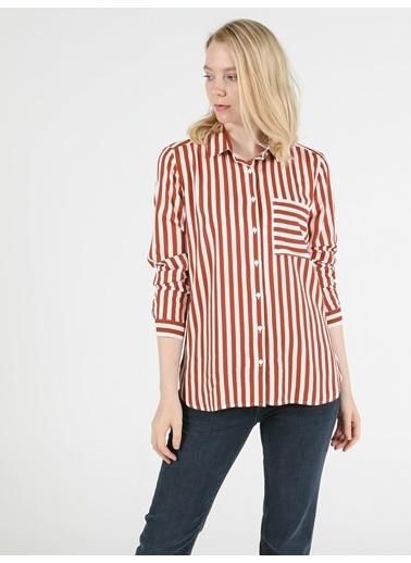 Colin's Regular Fit Shirt Neck Kadın Tarçın Uzun Kol Gömlek Kahve